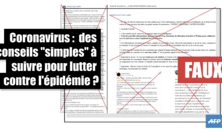 Coronavirus : la liste des prétendus conseils «simples et accessibles à tous» à ne pas suivre